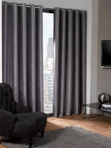 ECO PLAIN SILVER GREY COLOUR READYMADE SUEDE THERMAL BLACKOUT EYELET CURTAINS